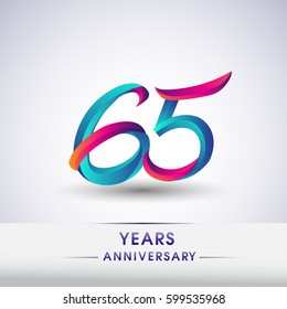 sixty five years anniversary celebration logotype blue and red colored, 65th birthday logo on white background