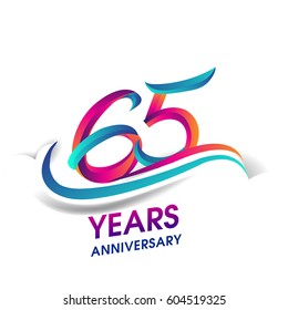 sixty five years anniversary celebration logotype blue and red colored. 65th birthday logo on white background.