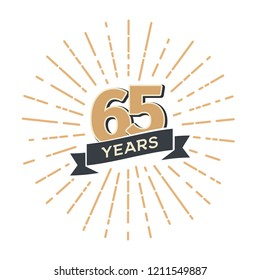Sixty five years anniversary retro vector emblem isolated template. Vintage logo sixty-fifth 65th years with ribbon and fireworks on white background