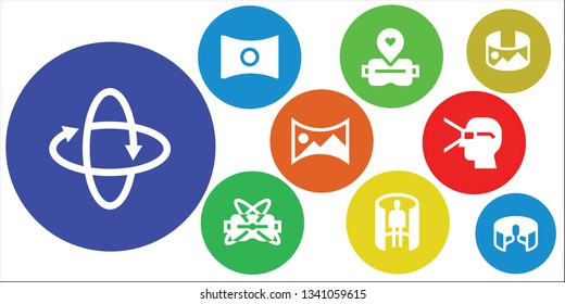 sixty icon set. 9 filled sixty icons.  Collection Of - 360 , Panorama, Virtual reality, panorama 360
