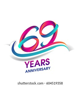 sixty nine years anniversary celebration logotype blue and red colored. 69th birthday logo on white background.