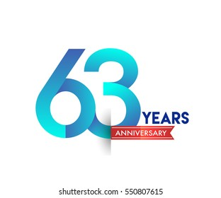 sixty three years anniversary celebration logotype blue colored with red ribbon. 63rd birthday logo on white background