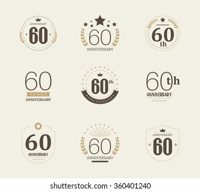 Sixty years anniversary celebration logotype. 60th anniversary logo collection.