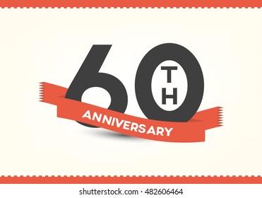 Sixty years anniversary celebration logotype. 60th anniversary logo.
