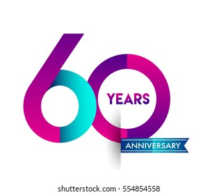 sixty years anniversary celebration logotype colorfull design with blue ribbon, 60th birthday logo on white background
