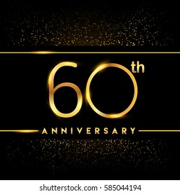 sixty years anniversary celebration logotype. 60th anniversary logo with confetti golden colored isolated on black background, vector design for greeting card and invitation card