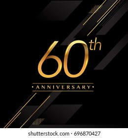 sixty years anniversary celebration logotype. 60th anniversary logo golden colored isolated on black background, vector design for greeting card and invitation card.
