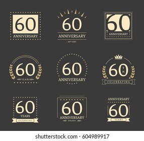 Sixty years anniversary logotypes and badges. 60th anniversary logo set.
