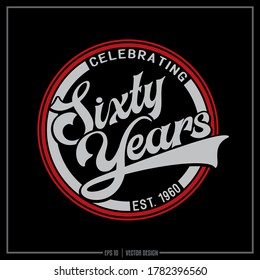 Sixty years red and grey insignia, Celebrating 60 years logo, Sixty design