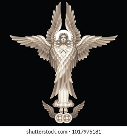 Six-winged seraphim - the highest angelic rank, on a black background