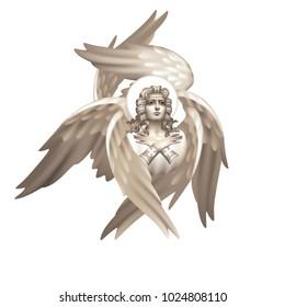 Six-winged seraphim monochrome on a white background