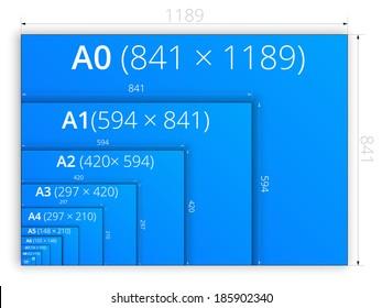 A3 a4 a5 a6 a7 a8 a9 images stock photos vectors for Blueprint paper size