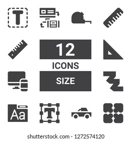 size icon set. Collection of 12 filled size icons included Expand, Pick up, Text editor, Font, Measuring tape, Responsive, Ruler