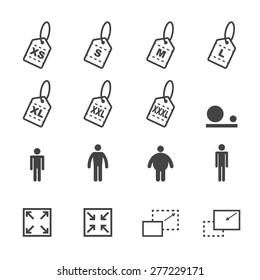 size icons, mono vector symbols