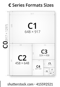 Size of series C paper sheets comparison chart, from C0 to C10 format in mm