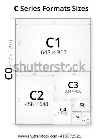 size series c paper sheets comparison のベクター画像素材