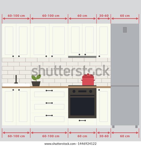 Sizes Kitchen Cabinets Ergonomics Kitchen Vector Stock ...