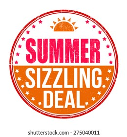 Sizzling summer deal grunge rubber stamp on white background, vector illustration