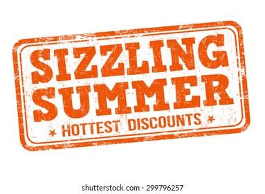 Sizzling summer grunge rubber stamp on white background, vector illustration