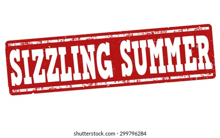 Sizzling summer grunge rubber stamp on white background, vector illustration