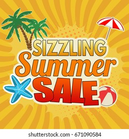 Sizzling summer sale advertising poster design on orange background, vector illustration