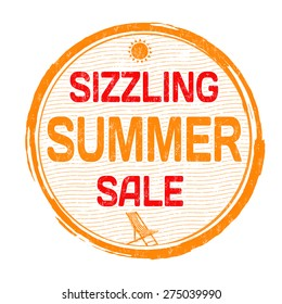 Sizzling summer sale grunge rubber stamp on white background, vector illustration