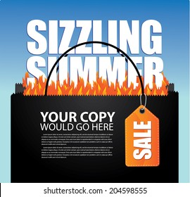 Sizzling Summer Sale shopping bag and tag marketing template. EPS 10 vector. grouped for easy editing. No open shapes or paths.