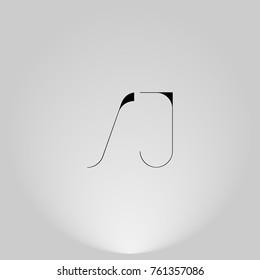 SJ Black thin minimalist LOGO Design with Highlight on Gray background.