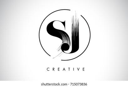 SJ Brush Stroke Letter Logo Design. Black Paint Logo Leters Icon with Elegant Circle Vector Design.