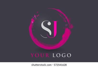 SJ Circular Letter Brush Logo. Pink Brush with Splash Concept Design.