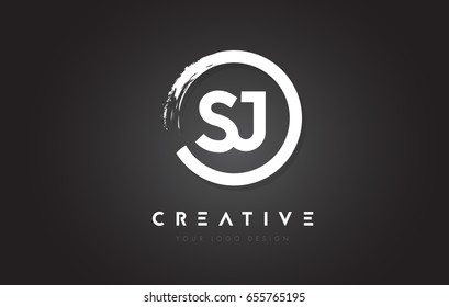 SJ Circular Letter Logo with Circle Brush Design and Black Background.