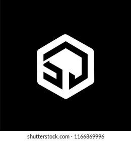 SJ Initial letter hexagonal logo vector