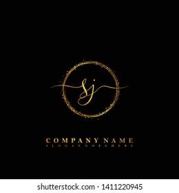 SJ Initial luxury handwriting logo vector