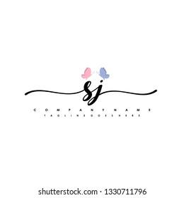 SJ initial signature logo. handwriting logo template vector,