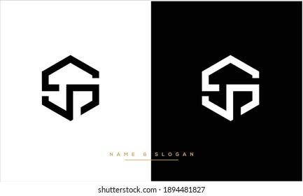 SJ ,JS  Abstract letters logo Monogram