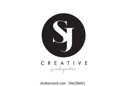 SJ Letter Logo Design with Black Circle and Serif Font Vector Illustration.