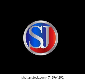 SJ Letter logo Design in a circle. Blue Red and silver colored