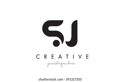 SJ Letter Logo Design with Creative Modern Trendy Typography and Black Colors.
