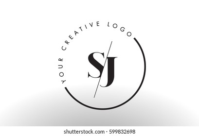 SJ Letter Logo Design with Creative Intersected and Cutted Serif Font.