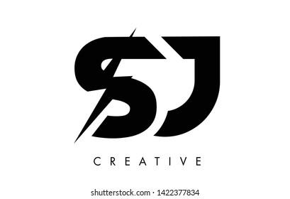SJ Letter Logo Design With Lighting Thunder Bolt. Electric Bolt Letter Logo Vector Illustration.