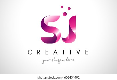 SJ Letter Logo Design Template with Purple Colors and Dots