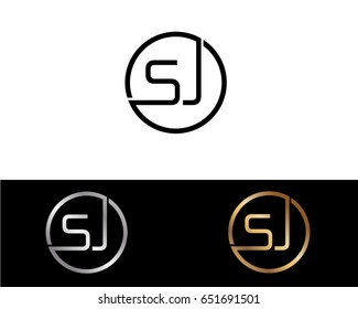 Sj Logo. Letter Design Vector with Red and Black Gold Silver Colors