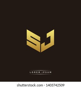 SJ Logo Letter Initial Logo Designs Templete with Gold and Black Background