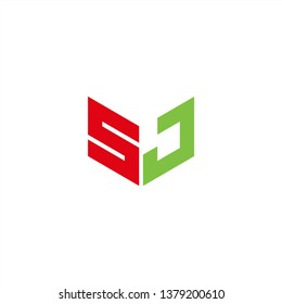 SJ Logo Letter Initial With Red and Green Colors