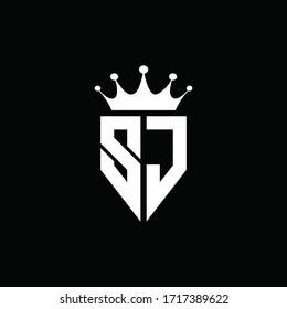 SJ logo monogram emblem style with crown shape design template
