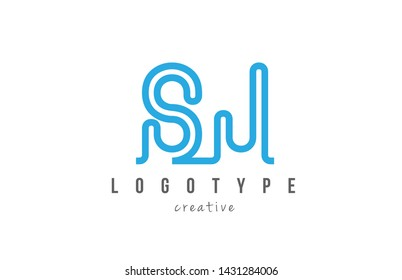 SJ S J blue joined line alphabet letter logo combination suitable as icon design for a company or business