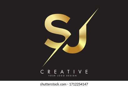 SJ S J Golden Letter Logo Design with a Creative Cut. Creative logo design with Black Background.