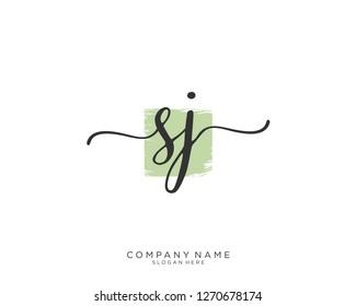 SJ S J Initial handwriting logo vector