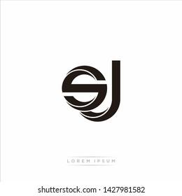 sj s j Initial Letter Split Lowercase Modern Monogram linked outline rounded logo