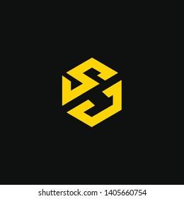 SJ or S J letter alphabet logo design in vector format.